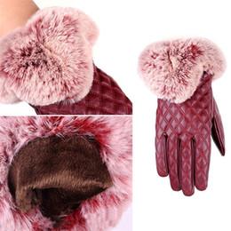 $enCountryForm.capitalKeyWord NZ - Wholesale New High Quality Women Fashion Warm Thicken Elegant PU Leather Faux Fur Wrist Winter Gloves