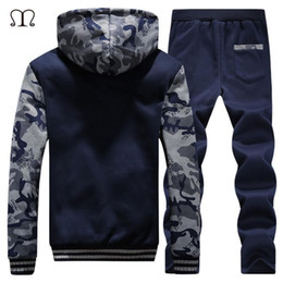 Fashion For Male Suits NZ - Wholesale- Winter Mens Warm Set Fleece Hoodies for Men Tracksuit Brand Clothing Sudaderas Hombre RunningMens Suits Male Clothing D62