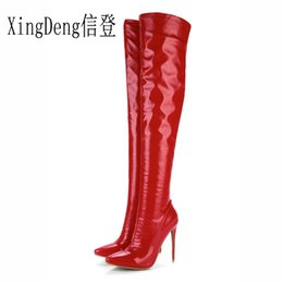 cf840ab9a01a Xing Ladie Pary High Heels 33-48 Size Riding Boots Shiny Pu Leather Shoes  Autumn Winter Women Zip Long Motorcycle Boot Shoes