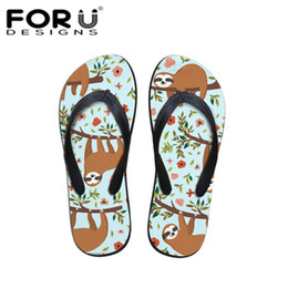 dc8c05c46a75c2 wholesale 3D Sloth Animal Print Women Slippers Flip Flop Indoor   Outdoor  Sandals Casual Travel Summer Beach Flats Shoes Girls