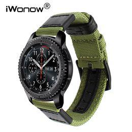 $enCountryForm.capitalKeyWord Canada - Genuine Nylon + Leather Watchband for Samsung Gear S3 Classic Frontier Quick Release Watch Band Canvas Strap Wrist Belt Bracelet