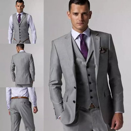 Discount gray notch lapel groom tuxedos - Cheap Wedding Groom Tuxedos Men Suits Custom Made Formal Suit for Men Two Button Wedding Bestmen Tuxedos (Jacket+Vest+Pa