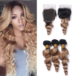human hair 27 Canada - Honey Blonde Ombre Loose Wave Bundles with Closure 2 Tone 1B 27 Strawberry Blonde Ombre Malaysian Wavy Human Hair Weaves with Closure