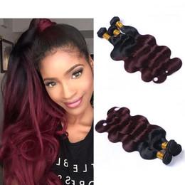 $enCountryForm.capitalKeyWord NZ - Two Tone Ombre 1B 99J Hair Extensions 8A Brazilian Peruvian Malaysian Virgin Human Hair Weave Body Wave 3 Bundles 100g Pcs 12-26 Inch