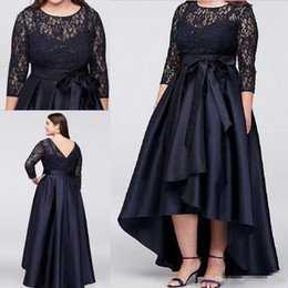 simple black mothers dresses Australia - Black Plus Size High Low Mother Of The Bride Dresses With Half Sleeves Sheer Lace Evening Gowns A-Line Cheap Formal Mother Dress