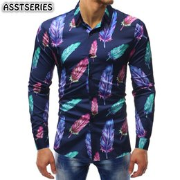 $enCountryForm.capitalKeyWord NZ - New Arrival Men Shirts Leaf Print Shirts Youth Long Sleeve Lapel Trend Casual Slim Fit Four Seasons Suitable Of Camisa Masculina