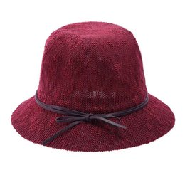 New Fashion Women Winter Hats Solid Weave Bowler Hats Retro Female Fedoras  Elegant Brand Bow Cloche Bucket 47092ae4933d