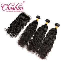 $enCountryForm.capitalKeyWord UK - Brazilian Peruvian Malaysian Indian Water Wave Human Hair Weaves With Closure Unprocessed Brazilian Remy Hair Bundles And Lace Closures