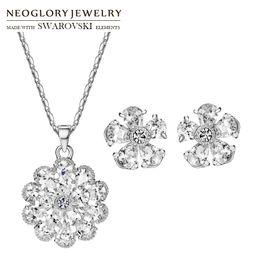 $enCountryForm.capitalKeyWord UK - Neoglory Austria Rhinestone & Zircon Jewelry Set Brilliant Wedding Flower Shaped Necklace & Earrings Lady Romantic Women Holiday