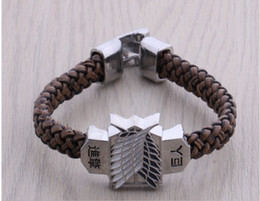 Wholesale attack titan scouting legion cosplay for sale - Group buy Attack On Titan Rope Chain Bracelets Shingeki No Kyojin Scouting Legion Floating Charms Men Women Bangles Cosplay T383