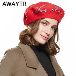 c6e4e63c7a7 AWAYTR Winter Hats For Women Chain Rings Warm Wool Beret For Girls Vintage  Flat Cap Lady Girl Berets Hat Boina Feminina