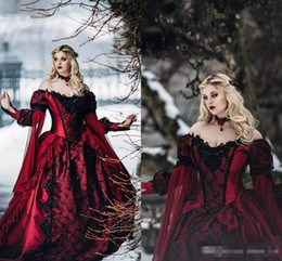 Discount medieval gothic wedding dresses - Vintage Medieval Red and Black Gothic Wedding Dresses Off Shoulder Long Sleeves Lace Appliques Chapel Train Victorian Br