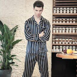 574b09aa77 Pajamas Faux Silk Men Sleep Lounge wear Striped Pijamas 2018 Spring Autumn  New Pyjama Homme Long Pants Male Pajama Sets Homewear