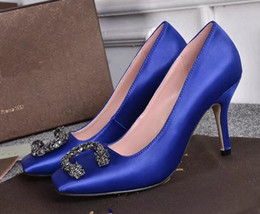 Ankle Chain Pumps NZ - Fashion Women Pumps Pink black blue Leather Ankle slip-on Women Pumps Ribbon Strappy High Heels Women Shoes Zapatos Mujer
