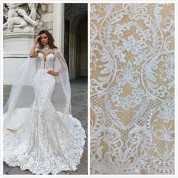 Wholesale 2018 wedding dresses 5yard white Embroidery bridal dresses lace fabrics tulle Mesh Wedding Dress Lace Fabrics--F010