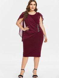 Wipalo Plus Size 5XL Capelet Knee Length Fitted Party Dress Women  Sleeveless Scoop Neck Sheath Dress Rhinestone Overlay Vestidos 385304177c66