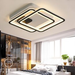 Chandeliers Australia - New Arrival Black and White LED Chandelier For Living Study Room Bedroom Square Aluminum Modern Led Ceiling Chandelier