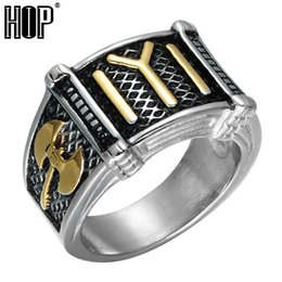 Chinese  Two Tone Titanium Stainless Steel Axe Ax Rings Ottomans Seal Kayi Ertugrul Ring for Men Jewelry US size 9-13 manufacturers