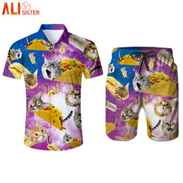$enCountryForm.capitalKeyWord UK - Alisister Pizza Cat Funny Tracksuit Men's 3d Shirts And Shorts Set Summer Kitty 2 Pieces Suits Male Moletom Masculino Dropship