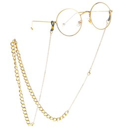 87e68a7b8f8e Wholesale Eyeglass Cords UK - Gold Silver Color Two Tone Thick Sunglasses  Lanyard Strap Necklace Metal
