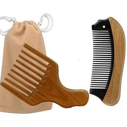 Paddle Picks online shopping - Afro Hair Pick ox Horn Wooden Pocket Travel Comb bag Brush Scalp Massage Drop Shipping Beard Styling Christmas Valentine Business Gift
