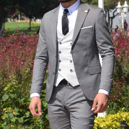 three piece suit white slim Canada - Custom Made GREY Men Suits Wedding White Double Breasted Vest Slim Fit Groom Tuxedos 3 Piece Best Man Blazer Jacket Pants Prom Wear