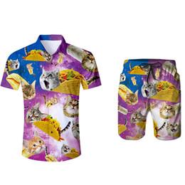 pizza t shirts 2019 - 3d Cat Pizza T-shirt Funny Print Summer Men Causal Beach Suits Short Sleeve Shorts 2PCS Suit+Pants Fashion Tracksuit Spo