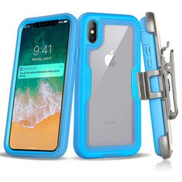 Blue screen protector online shopping - For iPhone Pro XS Max XR Plus Protection Shock Clear Belt Clip Holster Kickstand Case With Screen Protector