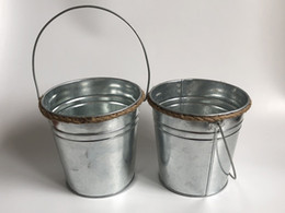 wholesale galvanized buckets pails NZ - D15XH15CM Metal Flower Planter Iron Buckets Tin Pails with rope Decor Pails Ornament For Home and Garden