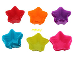 Discount star shape cake - 500pcs lot FAST Shipping Five-pointed star Shaped Silicone Muffin Cases Mould Cake Cupcake Liner Baking Mold