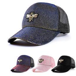 Gradient Korean 1PC mesh cap Sun Block Hip-hop Ponytail bee embroidery  Glitter Snapback Fluorescent sequins baseball cap Sale 5cbc39d72a8c