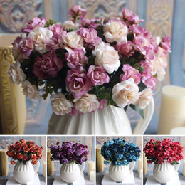 bridal bouquet pink 2019 - Beautiful 15 Heads Artificial Rose Silk Fake Flower Leaf Home Wedding Living Room Decor Bridal Bouquet For Household Dec