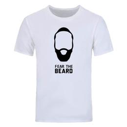 15b5e00e James Harden printed T Shirt Men Fashion Fear The Beard T-shirt Summer  Short Sleeve Cotton Men T Shirt casual Tops Tees DIY-0558D