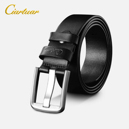 Ciartuar Fashion Men Solid Stainless Steel Pin Buckle Belt  Italian Genuine Leather Belt High Quality 3.35cm Width