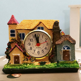 $enCountryForm.capitalKeyWord Canada - Resin Castle Mute Clock Figurines Home Desktop Decor Mansion Alarm Table Clock Bed Room Alarm Clock Christmas Crafts Gift