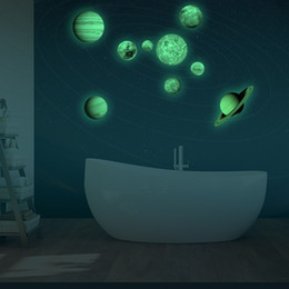 $enCountryForm.capitalKeyWord NZ - Glow in the dark nine planets Wall Stickers Kids Room Nursery Luminous Sun Jupiter Saturn Uranus Neptune Earth Venus Mars Mercury Wall Decal