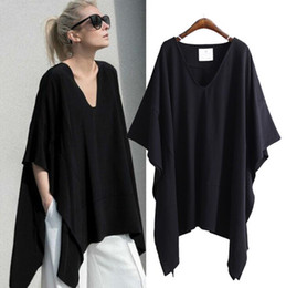 $enCountryForm.capitalKeyWord NZ - 2018 Europe Summer Women's Loose T-shirt V Neck Bat-wing Sleeve Irregular Plus Size Tops Tee Lady's Casual Cotton Tshirts C3354