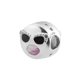 Lip Stay UK - New Authentic 925 Sterling Silver Bead Charm Black & Purple Enamel Lip & sunglasses Stay Cool Beads Fit Pandora Bracelet Diy Jewelry