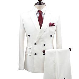 Venta al por mayor de Slim Fit: Trajes de hombre blanco, Novio de boda, Esmoquin, 2 piezas (chaqueta + pantalón), Trajes de novio, Mejor hombre, vestido de fiesta, ropa de negocios, chaqueta