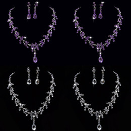 bead posts NZ - 3 Colors Crystal Bridal Jewelry Sets Choker Necklace Earrings stainless steel post pin African Beads Jewelry Set Wedding Jewelry