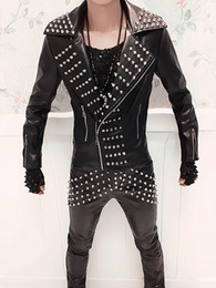 Punk Motorcycle Jacket Australia - Wholesale-Punk Band For Men Male Singer Dj Jacket Cost Costume Fashion Personality Rivet Leather Motorcycle Clothing Leather Pants Outfit
