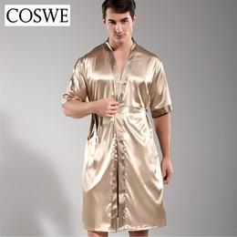 Bathrobe Men Sexy NZ - COSWE New Men Robe Mens Silk Dressing Gown Mens  Satin Bathrobe 5eed048c7