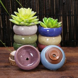 $enCountryForm.capitalKeyWord NZ - 100pcs Ice-cracked Ceramic Flower Pot with Hole Home Desktop Decoration Mini Flowerpot For Succulents Fleshy Plants