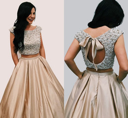 26278fad10 Pleated skirt sequin toP online shopping - Two Piece Champagne Prom Dresses  Heavy Beaded Top Cap