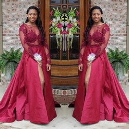 red bridesmaid dresses jackets NZ - Dark Red Sheer Long Sleeves 2018 Prom Dresses A Line Appliques South African Arabic Split Evening Gowns Bridesmaid Dress