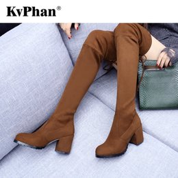 Wholesale KvPhan Sexy Pointed Toe Woman Flock Boot Square Heels cm Heel Height Winter Over the knee Boots Shoes Size Shoes Woman
