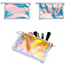 Cosmetic Purse Pvc NZ - transparent Pvc Laser Letter Cosmetic Bag Portable girl make up Bag women outdoor travel fashion purse phone bag FFA650 20pcs