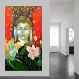 Lotus Painting Art NZ - Buddha Lotus Portrait Wall Art Oil Painting Canvas Wall Picture For Living Room Home Decoration Modern Print No Frame