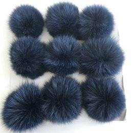 $enCountryForm.capitalKeyWord Canada - Navy blue-10cm-12pcs Real Genuine Fox Fur Ball PomPom Phone Car DIY for Keychain Pendant Handbag Charm