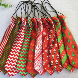 Xmas ties online shopping - Christmas Neck Tie fashion children Santa Claus snowman deer print Party dress up Tie colors Xmas Ties C5017